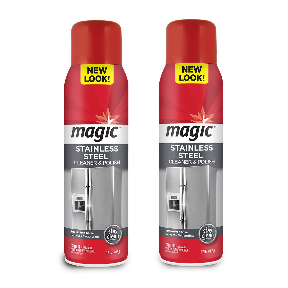 Magic Stainless Steel Cleaner Aerosol - 17 Ounce (2 Pack)- Removes Fingerprints Residue Water Marks and Grease from Appliances - Refrigerator Dishwasher Oven Grill