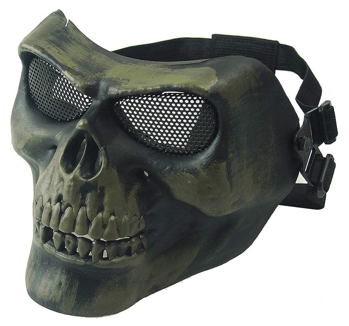 Panegy Costume Mask Skeleton Airsoft Adjustable Mask Halloween Costumes for Men HA01HNR0017