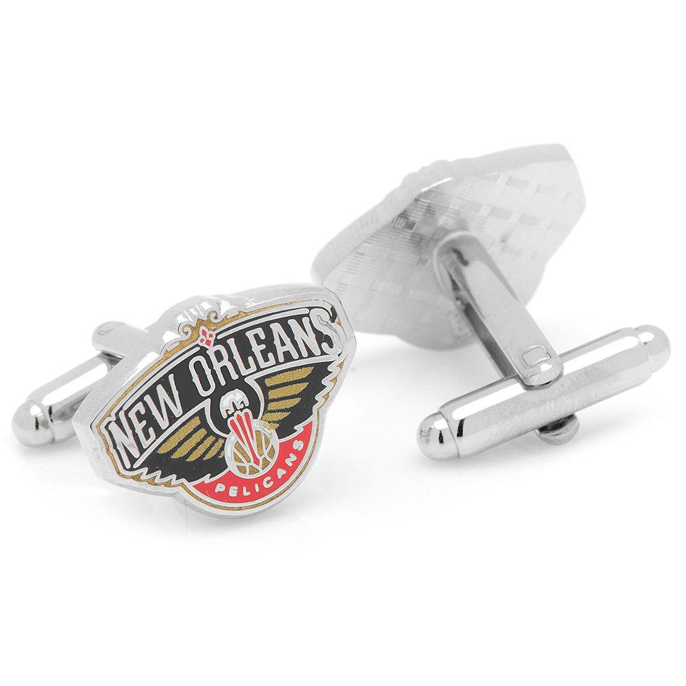 NBA Mens Metal New Orleans Pelicans Basketball Cufflinks (Silver-Tone)