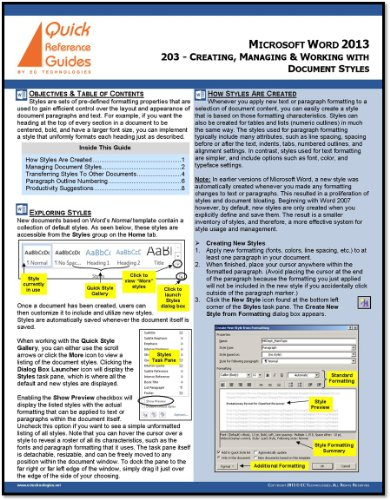 Microsoft Word 2013 Quick Reference Guide: Creating, Managing & Working with Document Styles - Forms Templates Office Microsoft