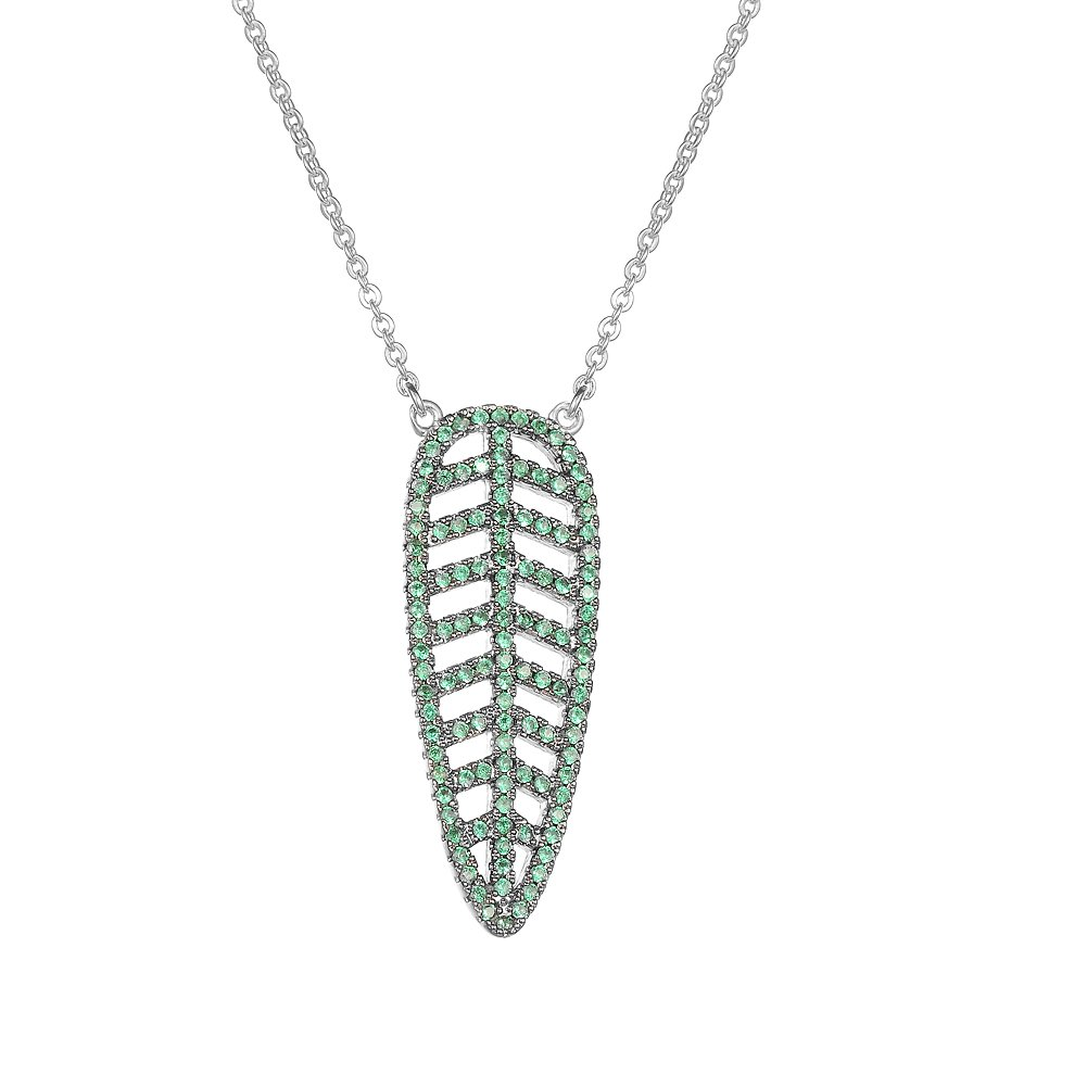 Cubic Zirconia Necklaces-KIVN Fashion Jewelry Glamorous Leaves Leaf Pendant Necklaces for Women
