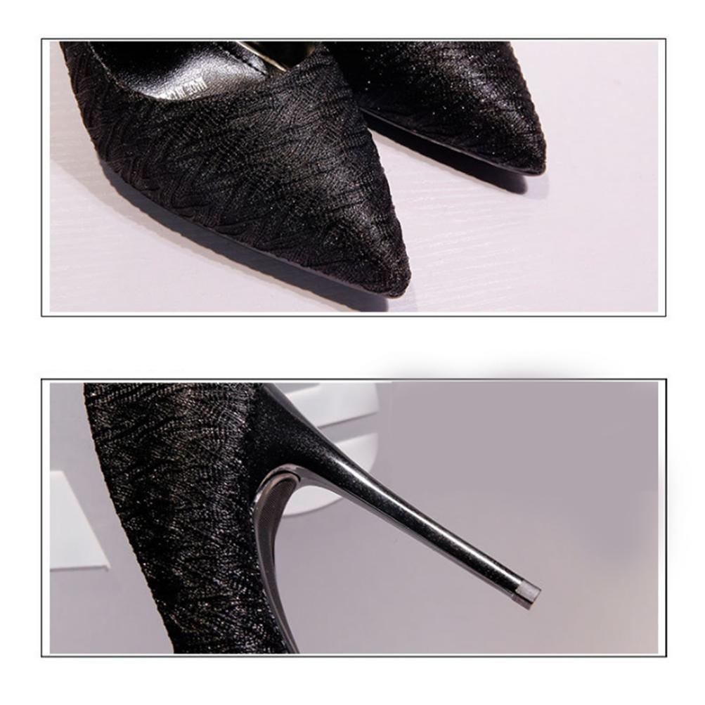 QPYC Femmes Bout Pointu Haut Talon Dentelle Bouche Peu Profonde Talon Fin Chaussures Seules Discothèque Robe De Soirée Chaussures , white , 37
