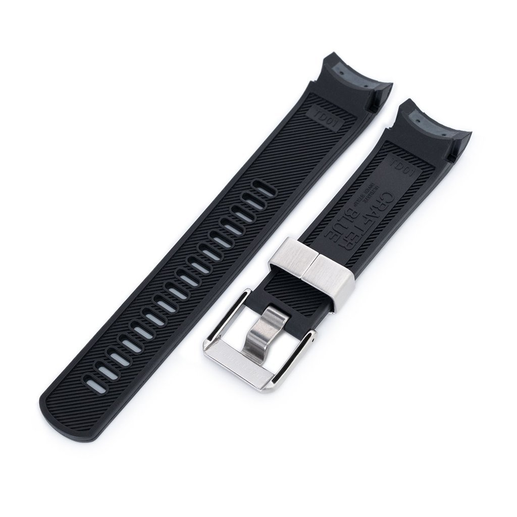 22mm Crafter Blue Rubber Watch Band, Color Black, Curved Lug for Tudor Black Bay M79230 by MiLTAT (Image #3)