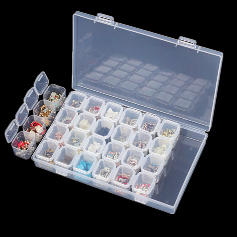 Embroidery Box,28 Slots Diamond Painting Storage Accessories Boxes Case Cross Stitch Tools Right Options