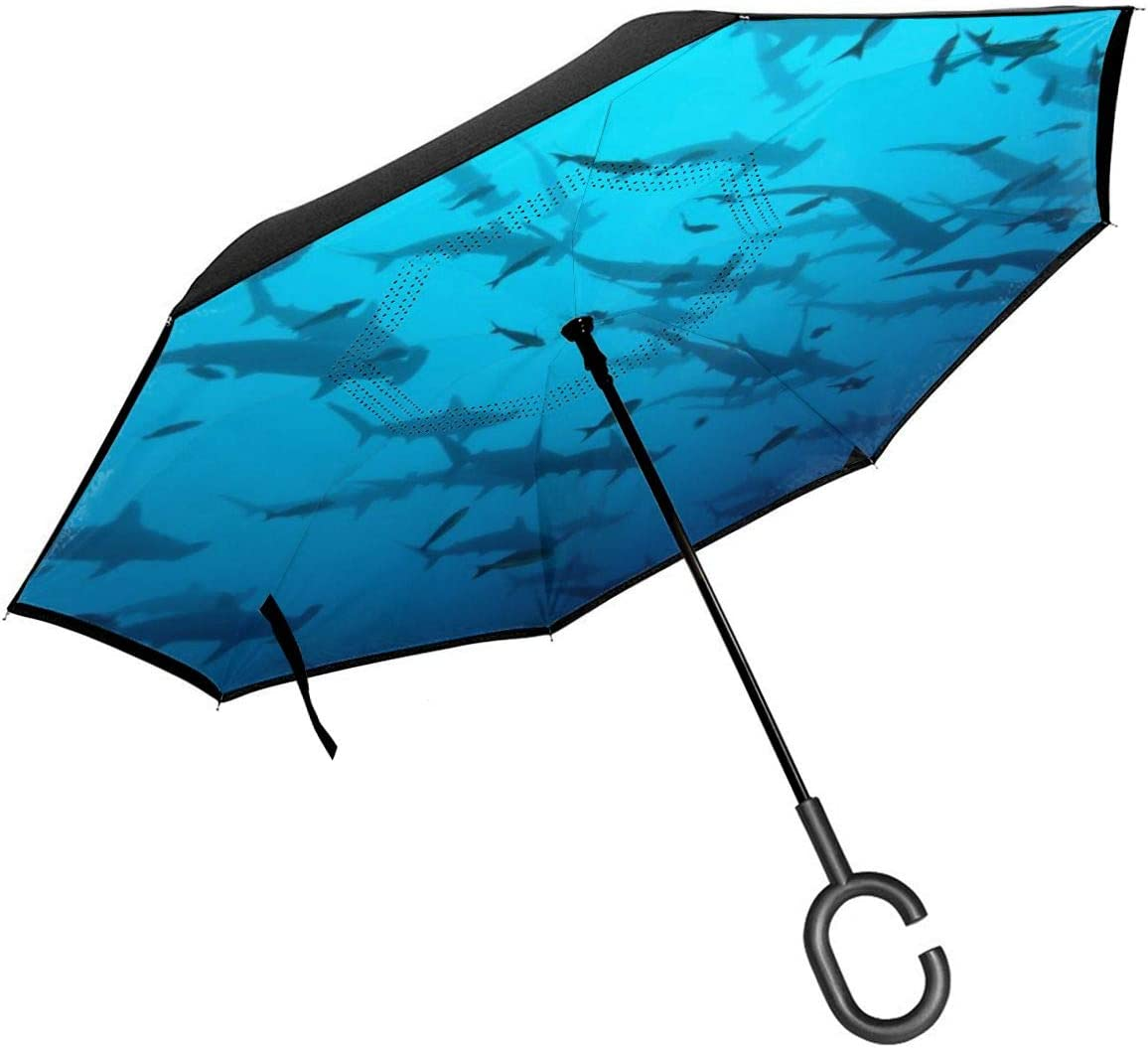 Folding Reverse Umbrella for Car Rain Outdoor Self Stand Upside Down with C-Shaped Handle PYFXSALA Shark Underwater Windproof Inverted Umbrella Double Layer UV Protection