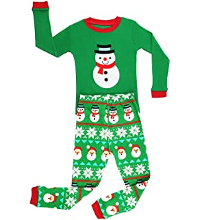 Elowel Boys Green Snowmen 2 pc pajamas Set 100% Cotton (12M-8Y)