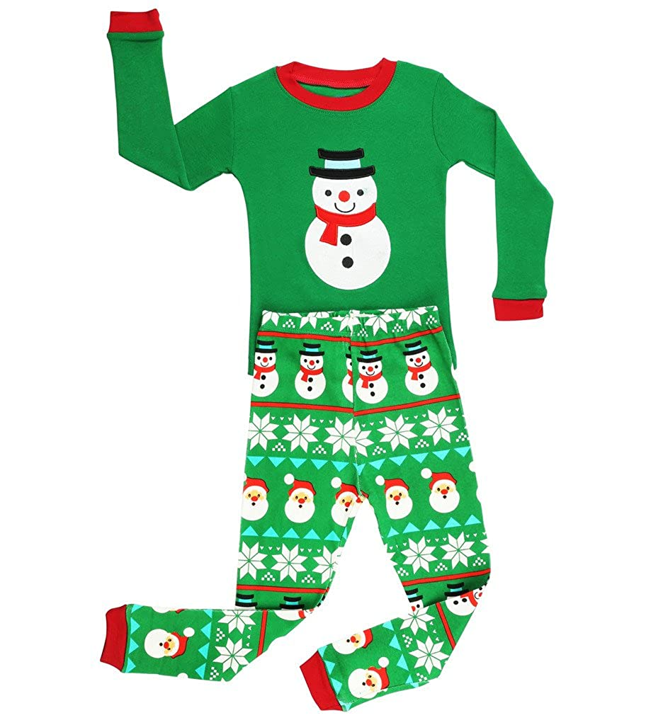 380bccd98a87 Amazon.com  Elowel Boys Green Snowmen 2 pc Pajamas Set 100% Cotton ...