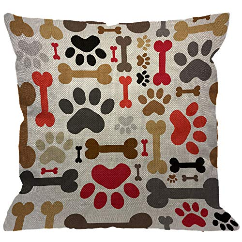HGOD DESIGNS Dogs Paws and Bones Throw Pillow Cover,Lovely Cartoon Adorable Footprint Decorative Pillow Cases Cotton Linen Square Cushion Covers for Home Sofa Couch 18x18