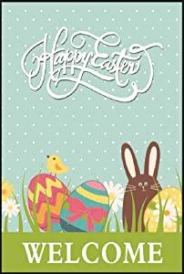 Happy Easter Welcome Garden Flag - Double Sided Spring Yard Flags - Brown Bunny Rabbit & Chick Design - Easter Eggs Decoration 12 x 18 Sign by Jolly Jon ®