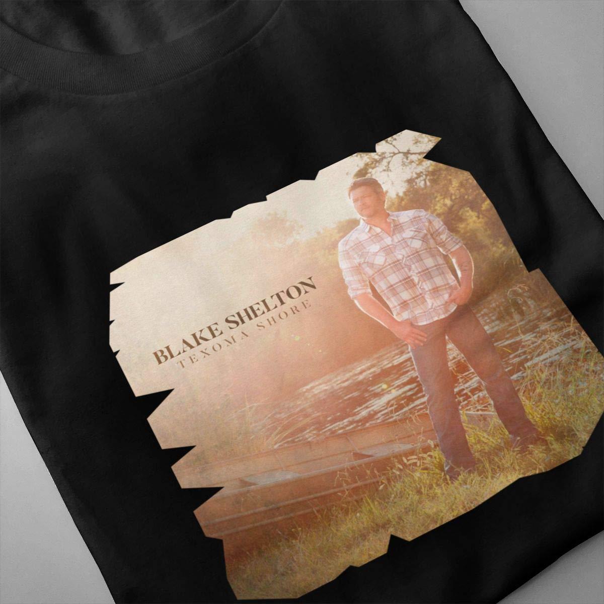 Linqarcon Mens Design with Blake Shelton Texoma Shores Classic Round Neck Short Sleeve Shirts