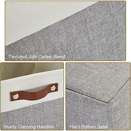 61J5j%2BwbQHL. AC - DECOMOMO Foldable Storage Bin | Collapsible Sturdy Cationic Fabric Storage Basket Cube W/Handles For Organizing Shelf Nursery Home Closet (Grey And White, Extra Large - 15.8 X 12.5 X 10-3 Pack)