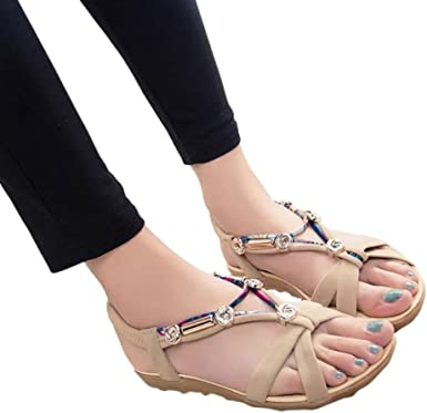 BEAUTYVAN Women Summer Open Toe Sandals Casual Elastic Bottom Strap Rome Flat Sandals
