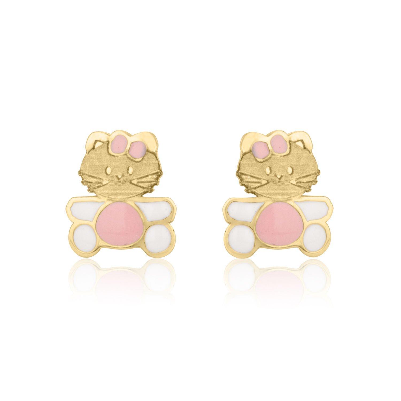 14K Fine Yellow Gold Enamel Kitty Kat Screw Back Stud Earrings for Girls Kids Gift Children