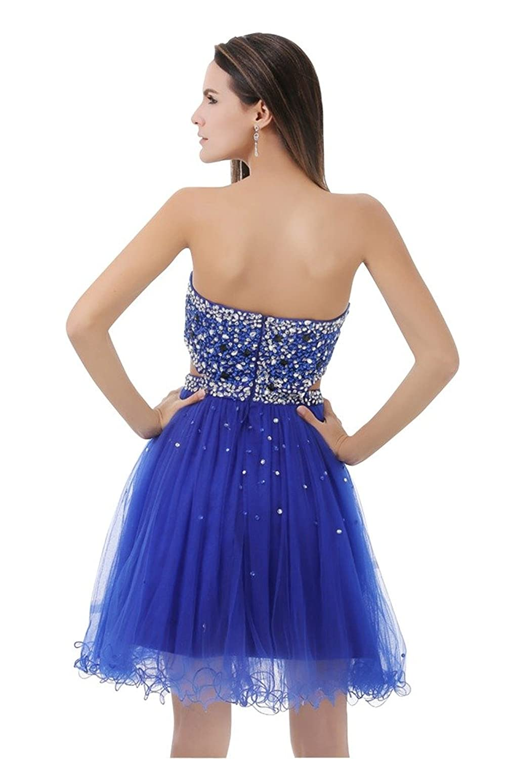 Sunvary Rhinestones Sweetheart Neckline Short Cocktail Dresses Homecoming Gowns