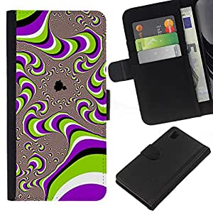 For Sony Xperia Z1 L39 Case , Art Structure Purple Green - la tarjeta de Crédito Slots PU Funda de cuero Monedero caso cubierta de piel