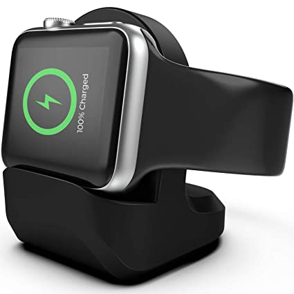 Charger Stand for Apple Watch - Nightstand Mode Compatible 38mm 42mm 40mm 44mm iWatch Series 1 2 3 4 Apple Watch Charging Stand Holder- Black