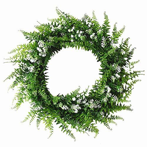 Babies Breath Mixed Fern Wreath,Artificial Fern Base-UV Resistant Greenery Wreath with Gypsophila Artificial Flowers for Front Door, Wall Decor,14 inches (White Flower Wreath)