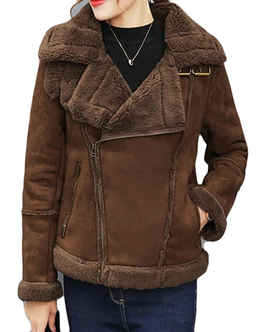 BU2H Women's Sheepskin Suede Leather Shearling Oblique Zipper Coat Jacket
