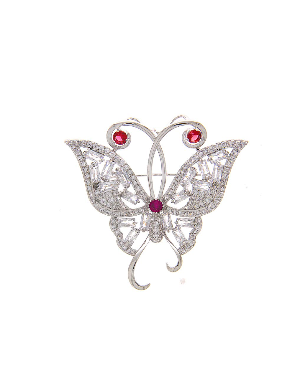 Anuradha Art Silver Colour Studded Pink Colour Stone Wonderful Brooch for Women/Men