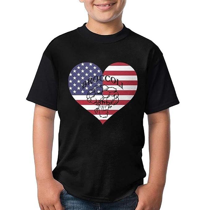 2d96b3ec Amazon.com: gigweri7 Gift for Youth - Broccoli and American Flag Heart  Short Sleeve Crew-Neck T-Shirt: Clothing
