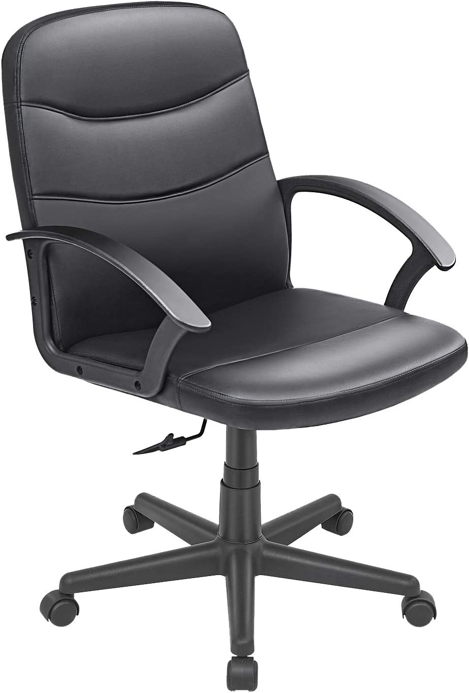Bowthy Computer Desk Office Chair with Arms Executive Task Chair 360 Swivel Chair Mid Back PU Leather (Black)