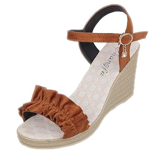 OHQ Sandalias Mujer Hebilla Correa Volantes CuñA Alpargatas Plataforma Bohemias Romanas Mares Playa Gladiador Verano Zapatos Peep Toe Zapatillas De TacóN ...