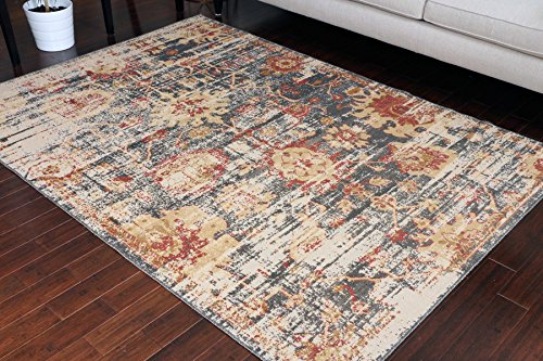 RUSTIC Collection Antique Style Wool Exposed Cotton and Jute Oriental Carpet Area Rug Rugs Charcol Rust Beige 7001 Black 8x11 8x10 7'10x10'2 by RUSTIC
