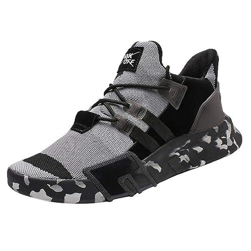 QUICKLYLY Zapatillas Deportivas Deporte Hombres Zapatos Niños De Casuales Correr Camuflaje Plano Transpirable con Cordones(