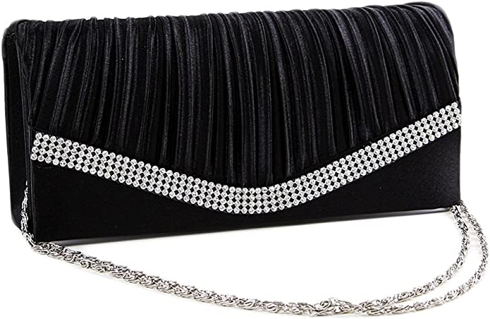 30s Outfits, Ideas for Women Chicastic Pleated Satin Wedding Evening Bridal Clutch Purse With Rhinestones $11.99 AT vintagedancer.com