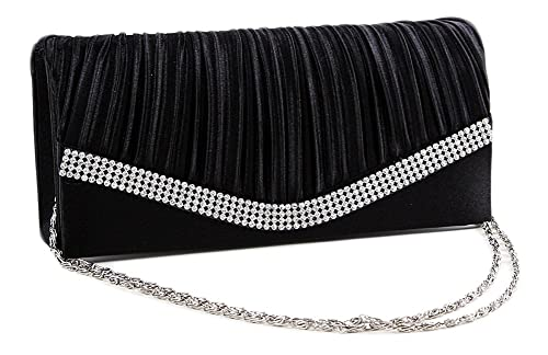 9d47170497 Chicastic Black Pleated Satin Wedding Evening Bridal Clutch Purse With  Rhinestones