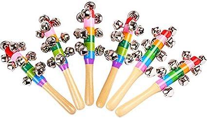Wooden Hand Shaker 5 Jingle Bells Handbell Kids Baby Preschool Toy Gift