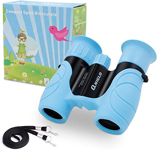 Qniglo Binoculars for Kids Shock Proof 10 x 22 High Resolution Real Optics Outdoor Explore Toys for kids Children Toys Gift For Kids blue
