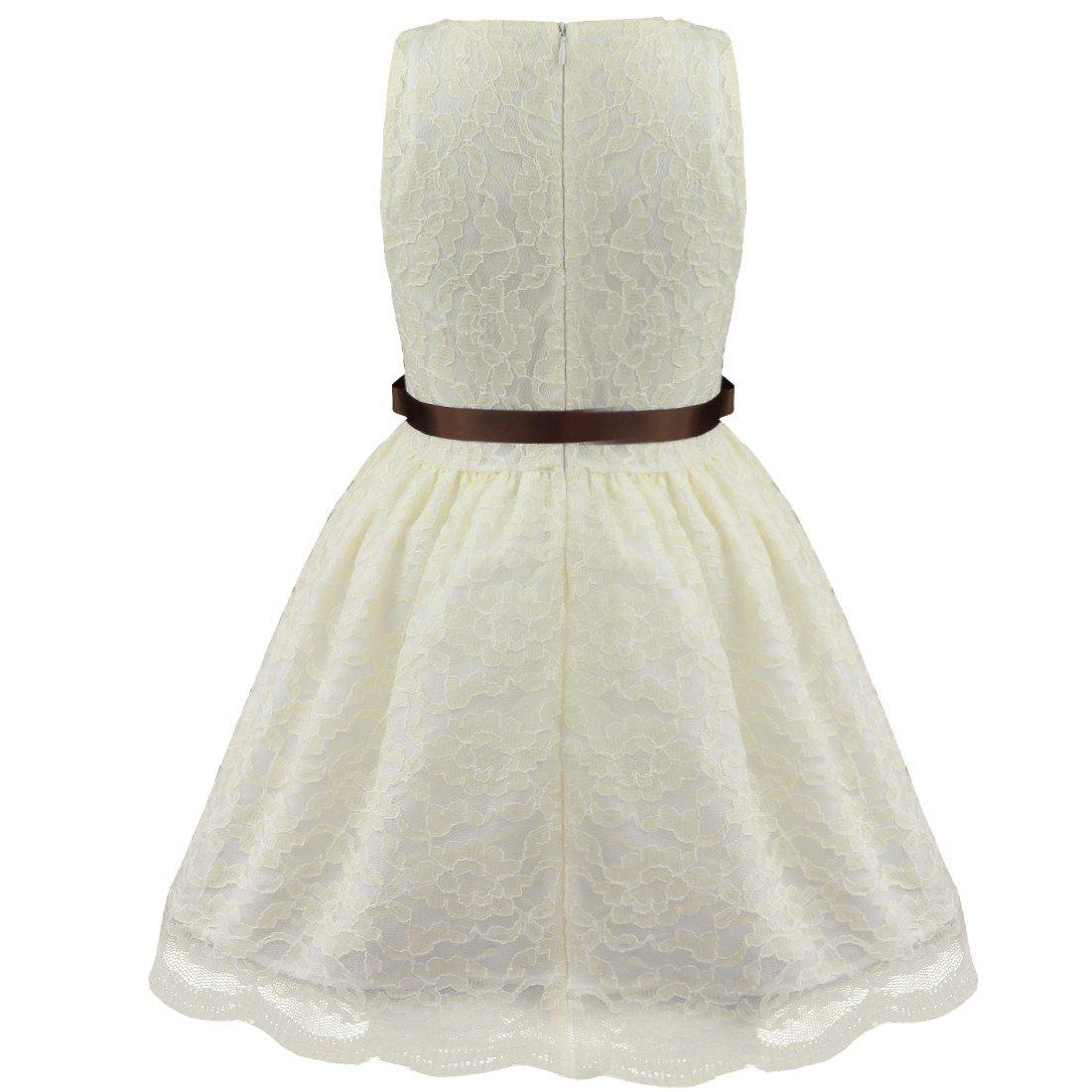 iEFiEL Vestidos Elegantes de Encaje Floreado de Princesa sin Mangas de Cuello Redondo para Niñas Bebés: Amazon.es: Ropa y accesorios