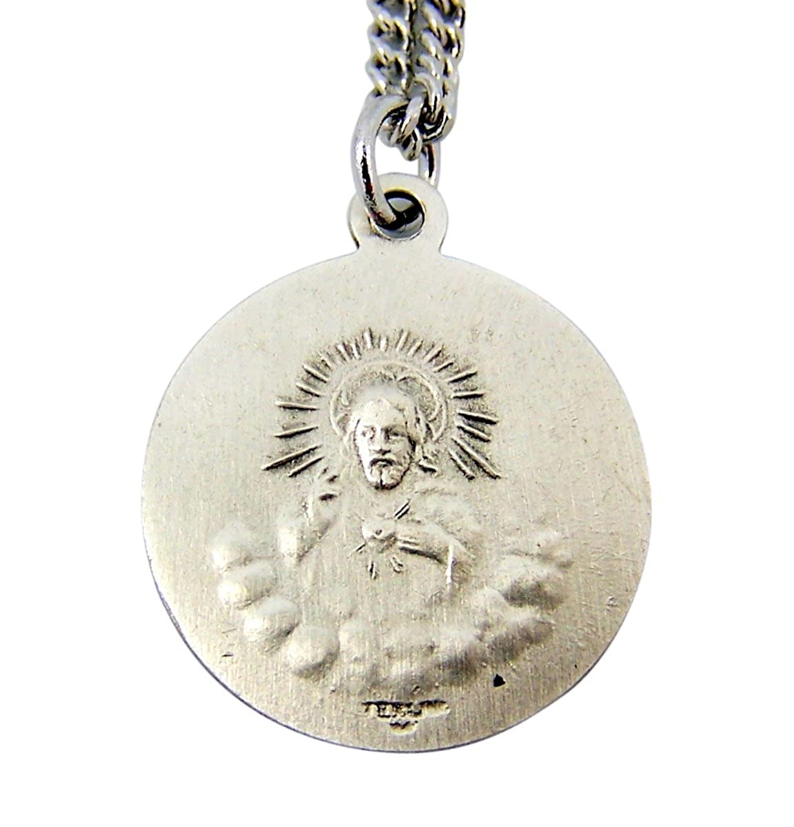 7//8 Inch Sterling Silver Our Lady Matka Boska Czestochowska Medal with Sacred Heart Back