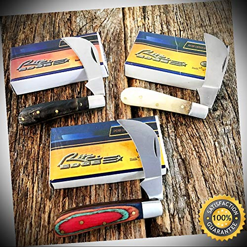 3 PC ASSORTED Chicken Hawk Hawkbill Pocket Knife White Buffalo Horn 203048-SET - Outdoor For Camping Hunting Cosplay