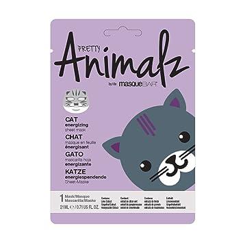 masque Bar Pretty Animalz Sheet Mask, CAT Engergizing Full Face Mask, Single Pack