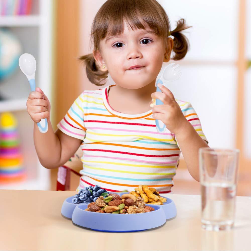 Silikon Rutschfest Teller und Biegsame Baby L/öffel Gabel f/ür Baby Kleinkind und Kinder Silikon Kinderteller und Baby Besteck Baby Teller mit Saugnapf Passend f/ür Die Meisten Hochstuhl-Tabletts