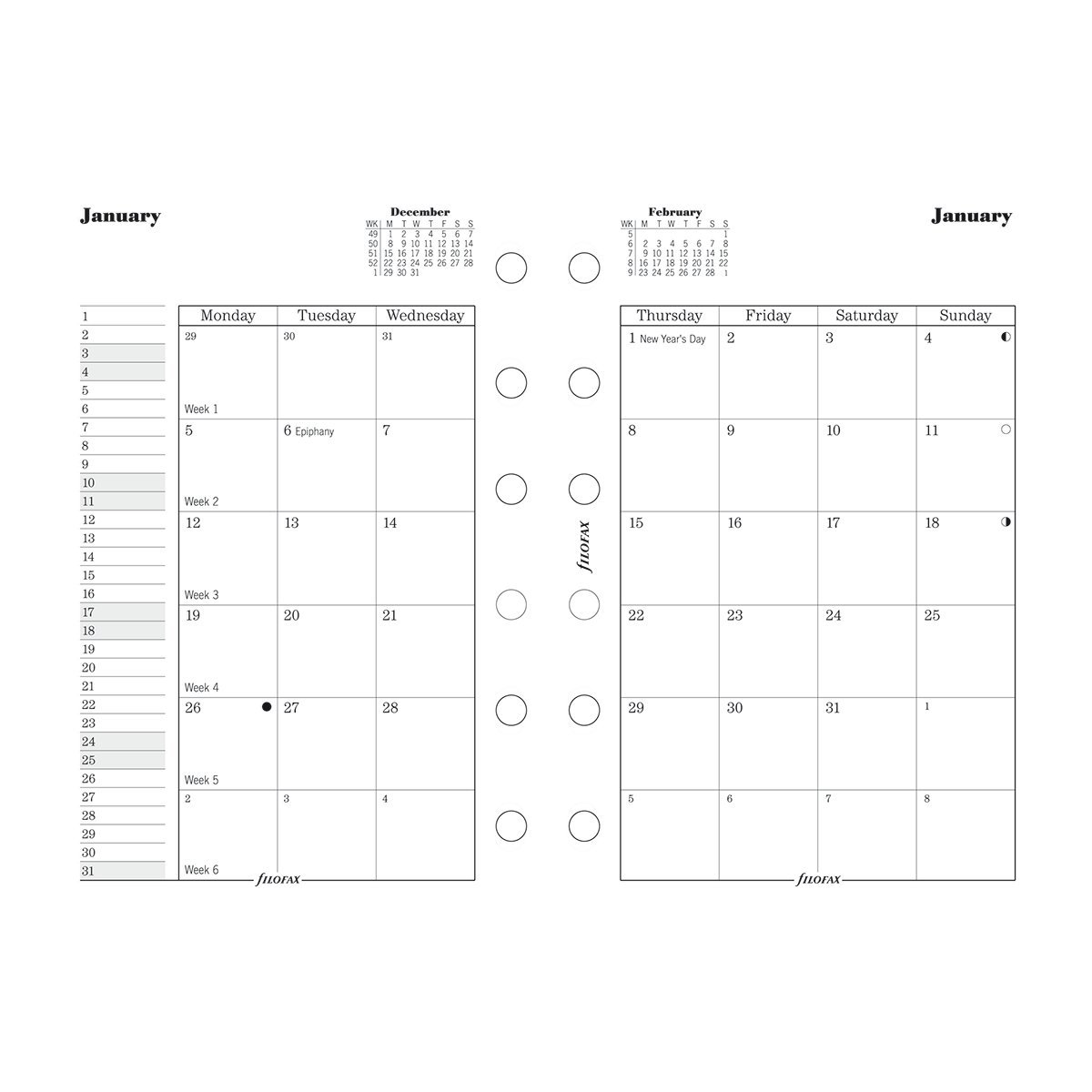 Filofax Month on Two Pages Refill for 2016 Pocket Size Yearly Calendar, 4.75 x 3.25 (C68210-16)