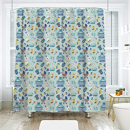 scocici Simple Creative Bath Curtain Suit Shade Curtain,Baby,Newborn Sleep Crescent Moon Pacifier Nursery Star Polka Dots Image Decorative,Pale and Violet Blue Yellow,70.8