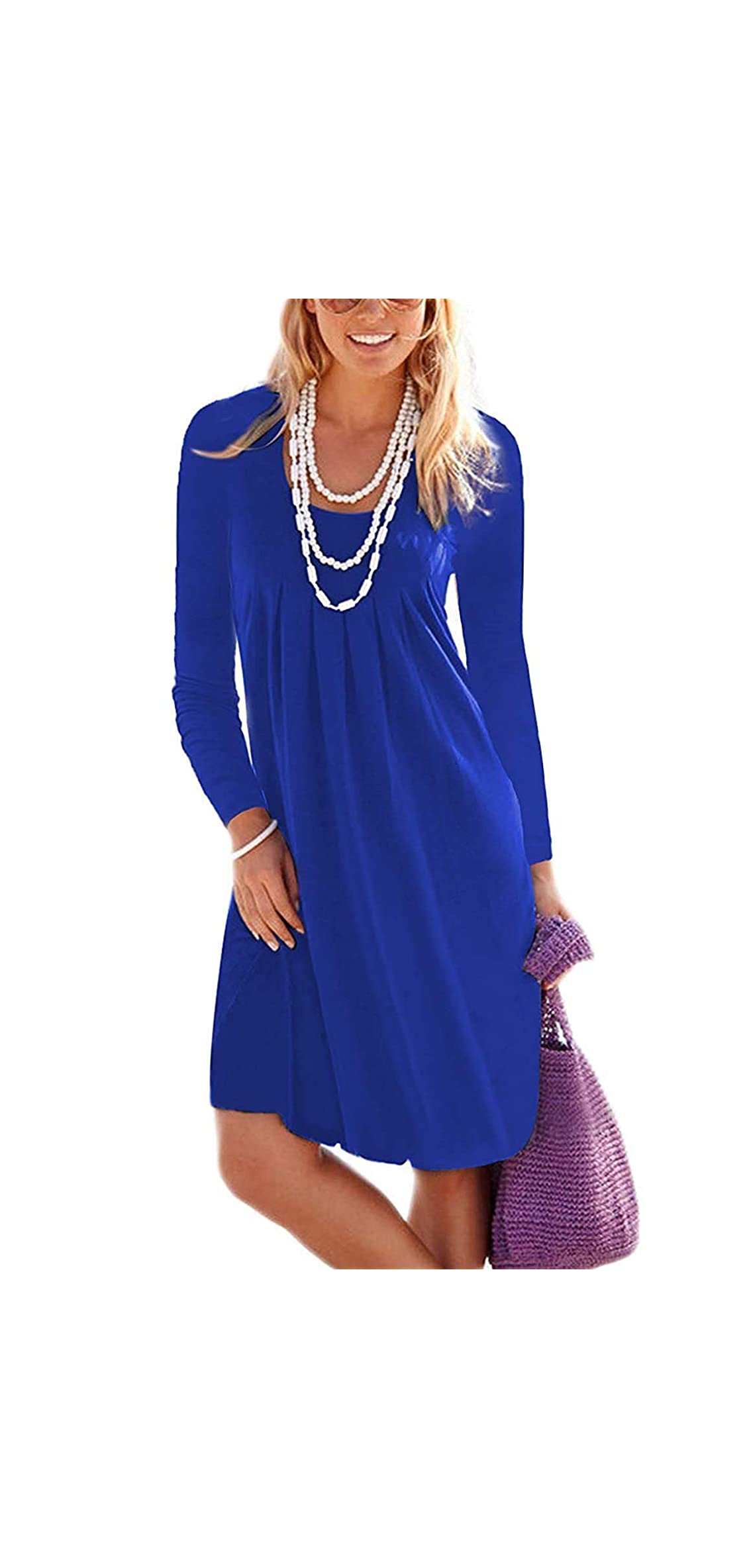 Women's Casual Long Sleeve Knee Length Pleated Dresses
