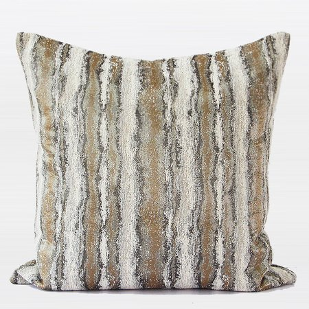 G Home Collection Luxury Light Gold Mix Color Stripe Pattern Metallic Chenille Pillow ()