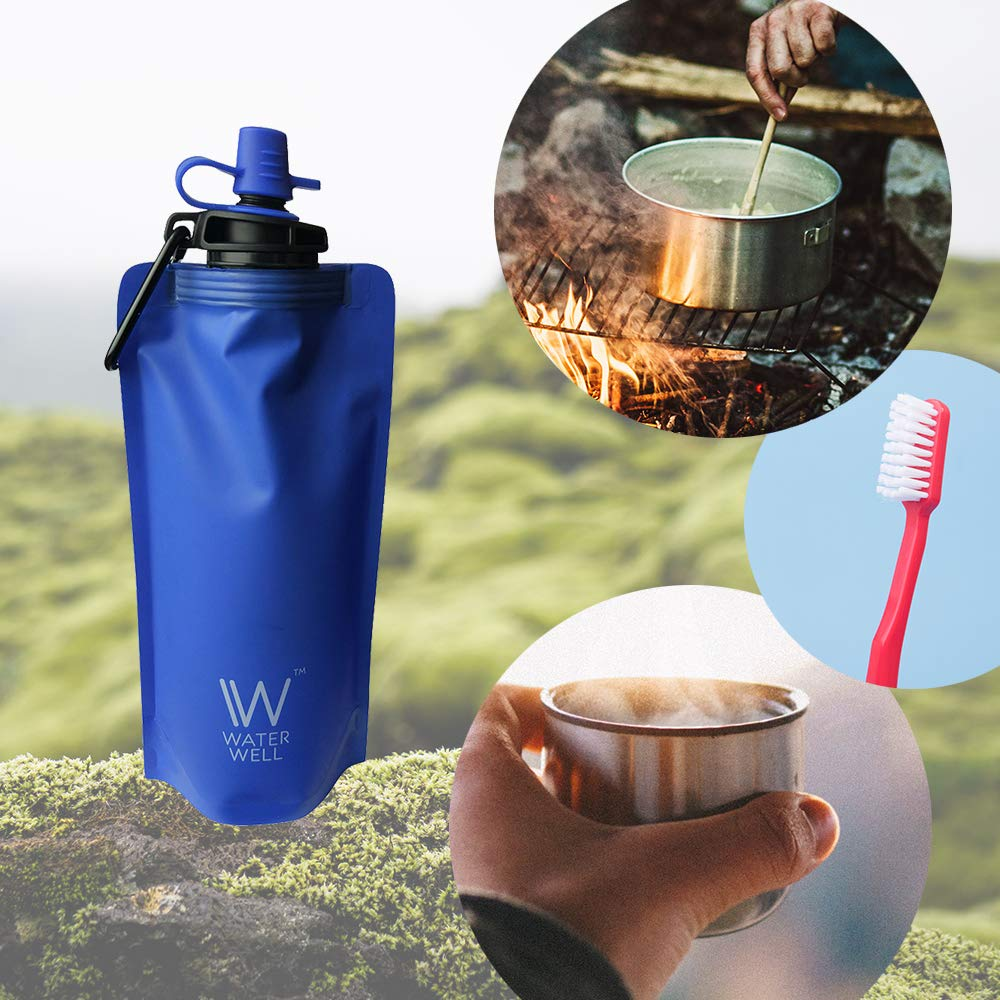 Filters Water by Eliminating 99.9/% of Waterborne Bacteria /& Parasites Hollow Fibre Membrane WaterWell Foldable Squeeze Travel Water Bottle Ultra Filtration Straw Filters 1000 litres of Fresh Water