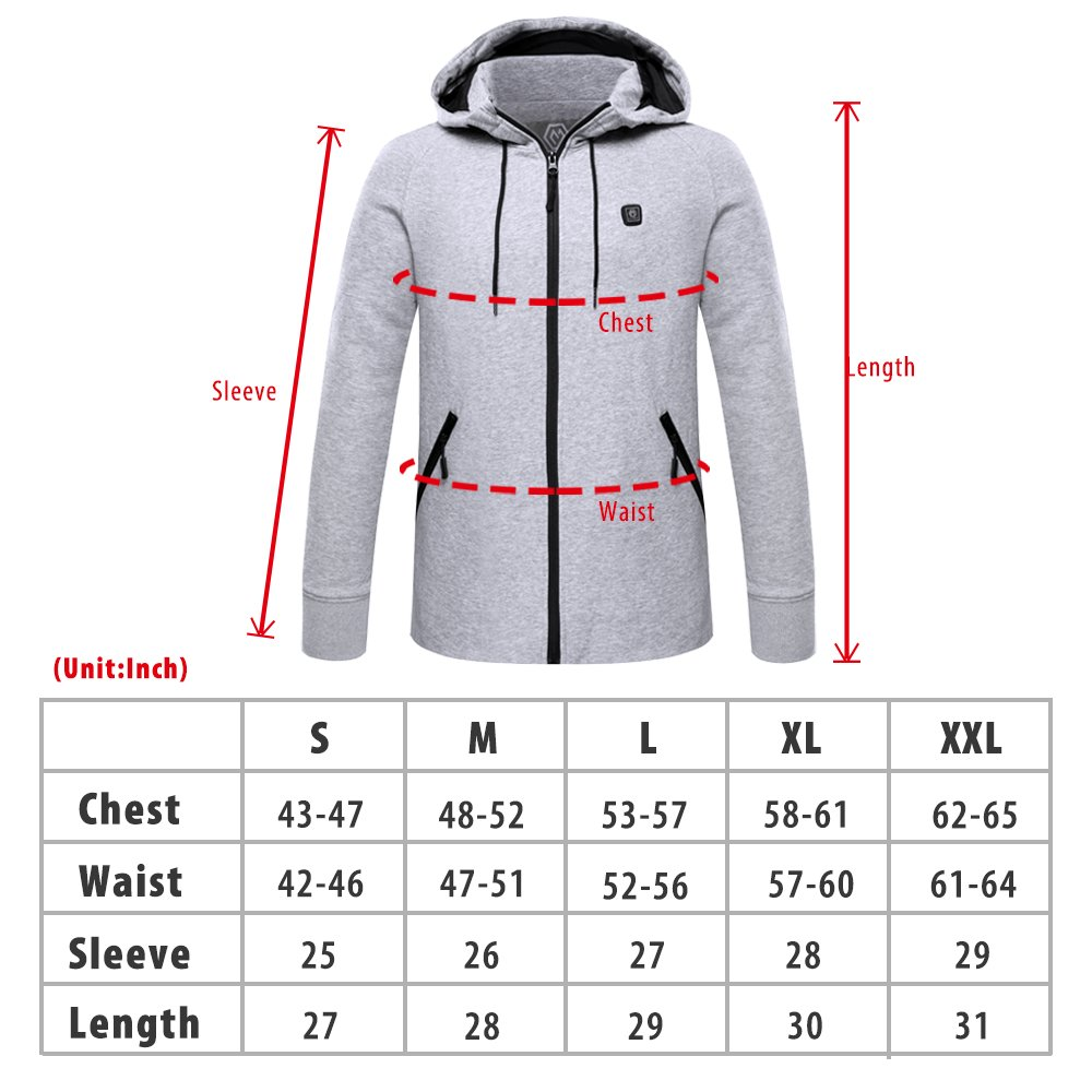 CLIMIX Mens Cordless Heated Hoodie Jacket Kit With Battery Pack (L) by CLIMIX (Image #7)
