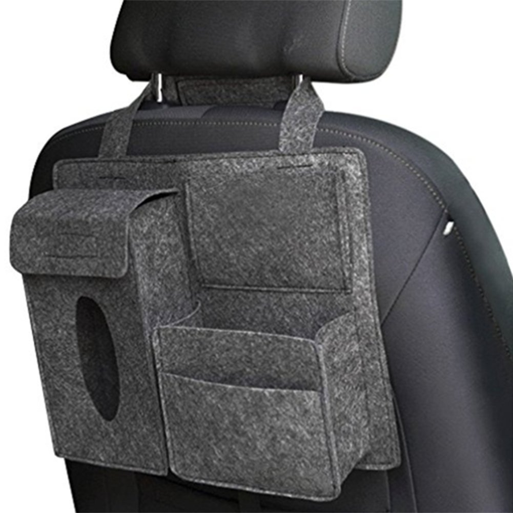 Cdet Car Storage Bag Felt Pocket Multifunctional Car Accessory Carriage Holder Car Tidy Grey