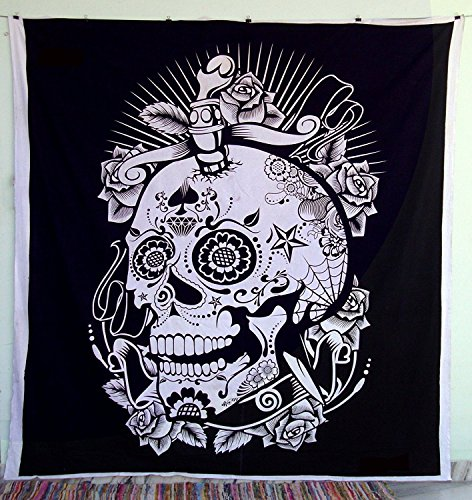 Black And White Indian Traditional Mandala Hippie Wall Hanging Cotton Tapestry Bohemian Bedspread (Skull Grateful Dead Queen Size)