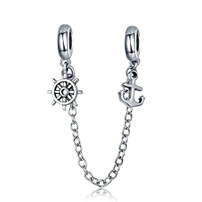 9c573b993 Amazon.com: Heart Safety Chain Charm 925 Sterling Silver Beads fit Pandora  Charms Bracelet & Necklace (Anchor & Rudder Safety Chain): Jewelry