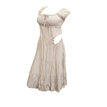 30b583a560f4 eVogues Plus Size Light Brown Cotton Empire Waist Sundress - 3X   Amazon.co.uk  Clothing