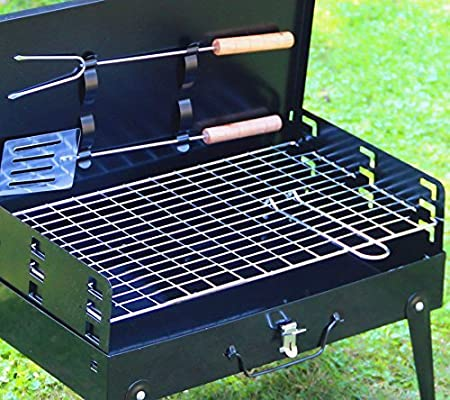 SunJas Barbacoa Portátil Barbacoa Carbón con Pies Plegable BBQ Barbacoa Asador al Aire Libre para Jardin, Picnic, Acampadas, Camping - Color Negro ...