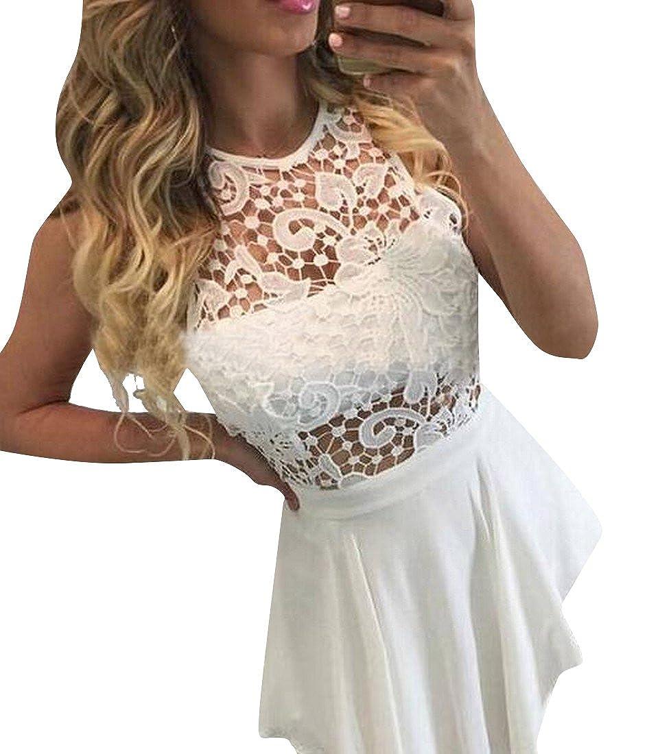Honey GD Women Sleeveless Hollow Out Lace Short Party Dress