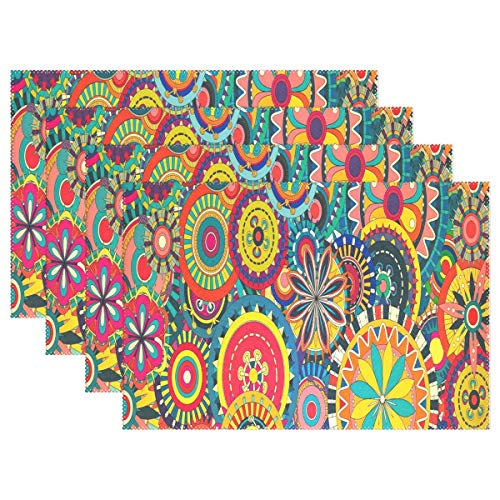 Heat Resistant Placemats for Kitchen Table Mats for Dinning Room,Floral Desktop Wallpapers Washable Insulation Non Slip Placemat 12x18 inch 6pcs -